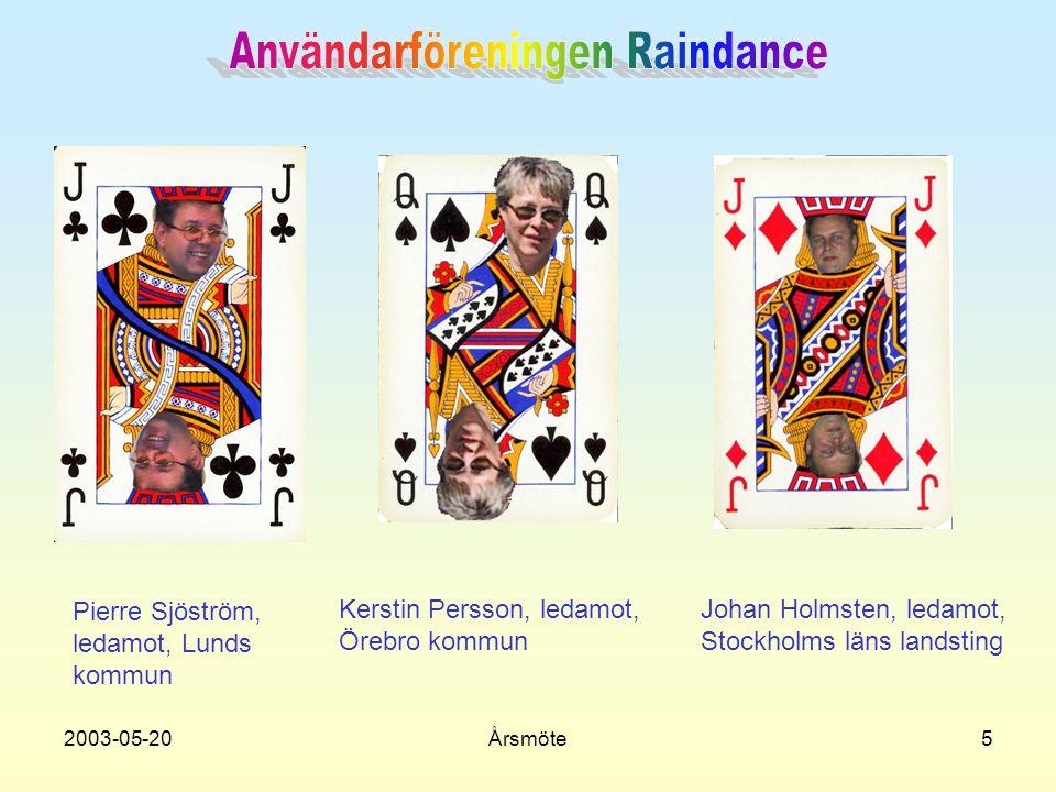 2003-05-20Årsmöte5 Pierre Sjöström, ledamot, Lunds kommun Johan Holmsten, ledamot, Stockholms läns landsting Kerstin Persson, ledamot, Örebro kommun