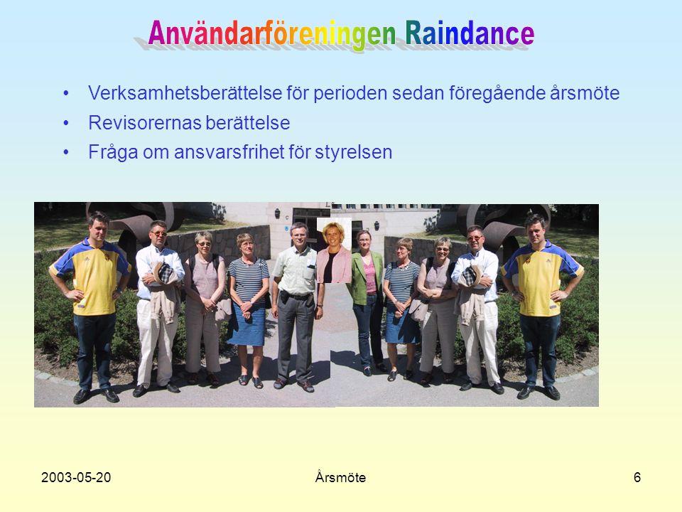 2003-05-20Årsmöte7 •Val av styrelseledamöter för kommande verksamhetsår •Val av revisorer för kommande verksamhetsår •Val av valberedning för kommande verksamhetsår VALBEREDNINGEN