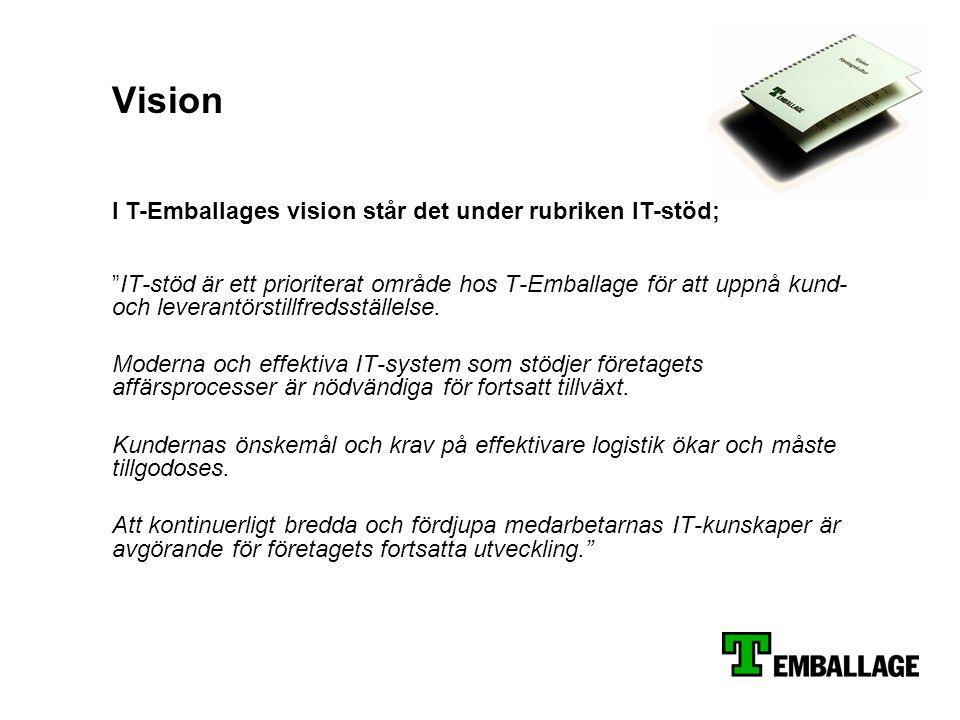 """Vision """"IT-stöd är ett prioriterat område hos T-Emballage för att uppnå kund- och leverantörstillfredsställelse. Moderna och effektiva IT-system som s"""