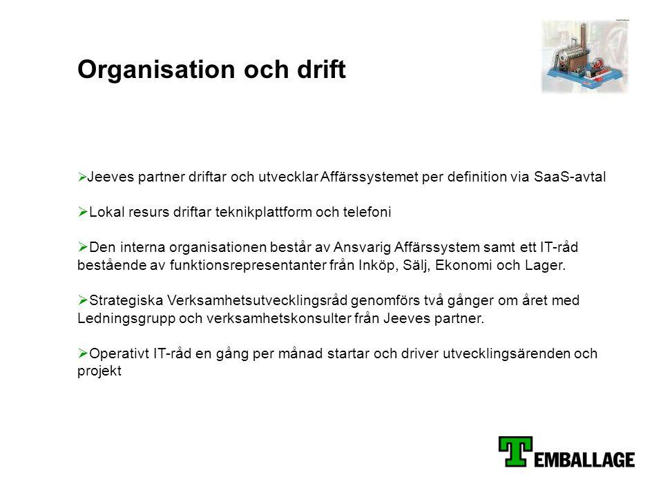 Organisation och drift  Jeeves partner driftar och utvecklar Affärssystemet per definition via SaaS-avtal  Lokal resurs driftar teknikplattform och