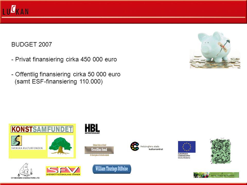 BUDGET 2007 - Privat finansiering cirka 450 000 euro - Offentlig finansiering cirka 50 000 euro (samt ESF-finansiering 110.000)