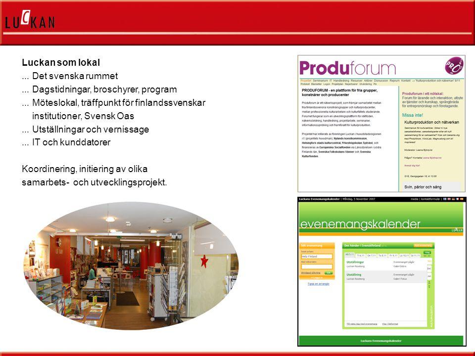 Luckan som lokal...Det svenska rummet... Dagstidningar, broschyrer, program...