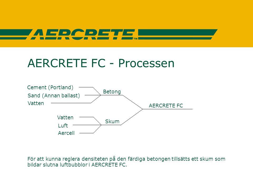 AERCRETE FC - Processen För att kunna reglera densiteten på den färdiga betongen tillsätts ett skum som bildar slutna luftbubblor i AERCRETE FC. Vatte