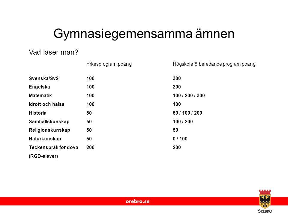 www.orebro.se Gymnasiegemensamma ämnen Vad läser man? Yrkesprogram poäng Högskoleförberedande program poäng Svenska/Sv2100300 Engelska100200 Matematik