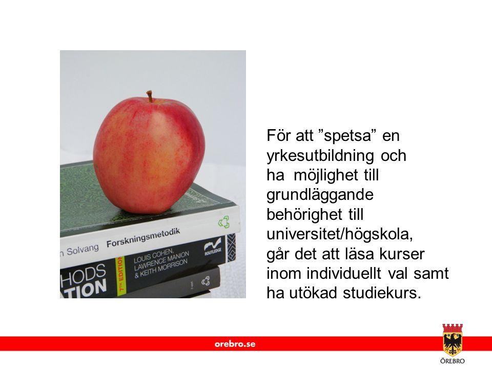 """www.orebro.se För att """"spetsa"""" en yrkesutbildning och ha möjlighet till grundläggande behörighet till universitet/högskola, går det att läsa kurser in"""