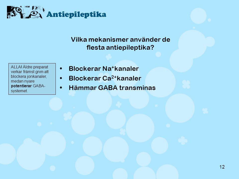 12 Vilka mekanismer använder de flesta antiepileptika? •Blockerar Na + kanaler •Blockerar Ca 2+ kanaler •Hämmar GABA transminas ALLA! Äldre preparat v