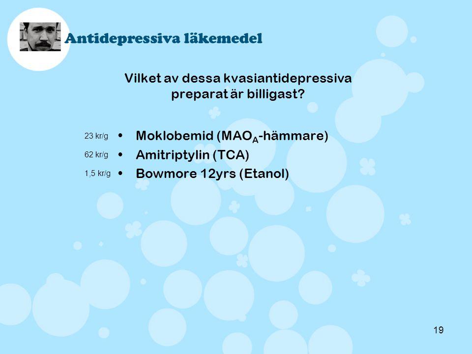 19 Vilket av dessa kvasiantidepressiva preparat är billigast? •Moklobemid (MAO A -hämmare) •Amitriptylin (TCA) •Bowmore 12yrs (Etanol) 23 kr/g 62 kr/g
