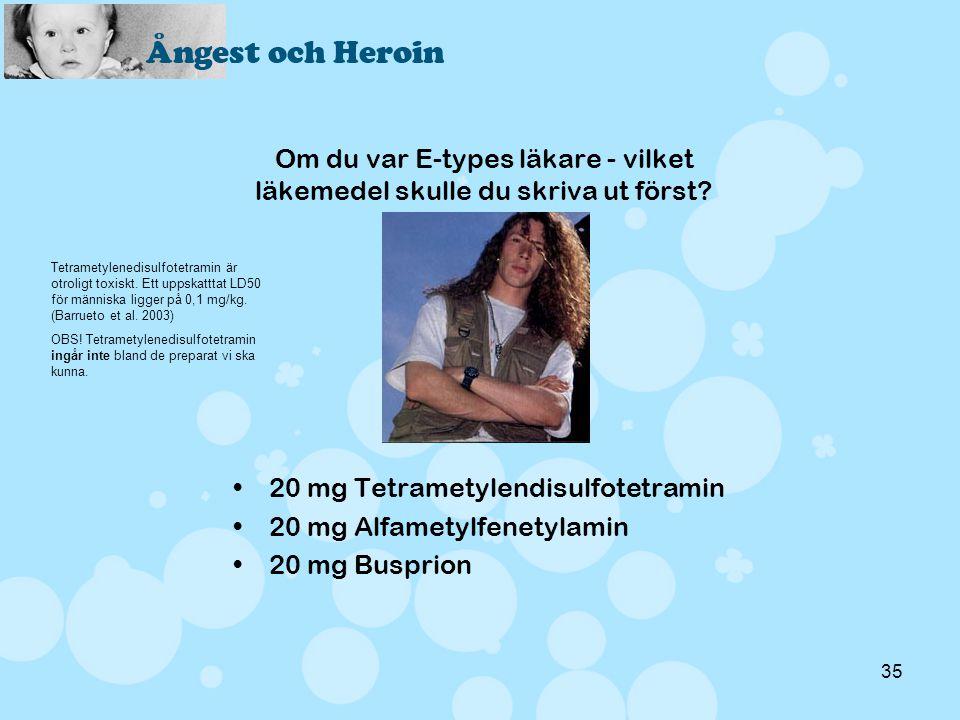35 Om du var E-types läkare - vilket läkemedel skulle du skriva ut först? •20 mg Tetrametylendisulfotetramin •20 mg Alfametylfenetylamin •20 mg Buspri