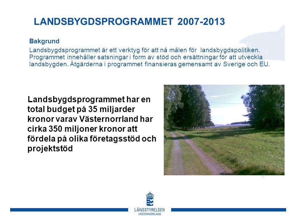 LANDSBYGDSPROGRAMMET 2007-2013 Bakgrund Landsbygdsprogrammet är ett verktyg för att nå målen för landsbygdspolitiken.
