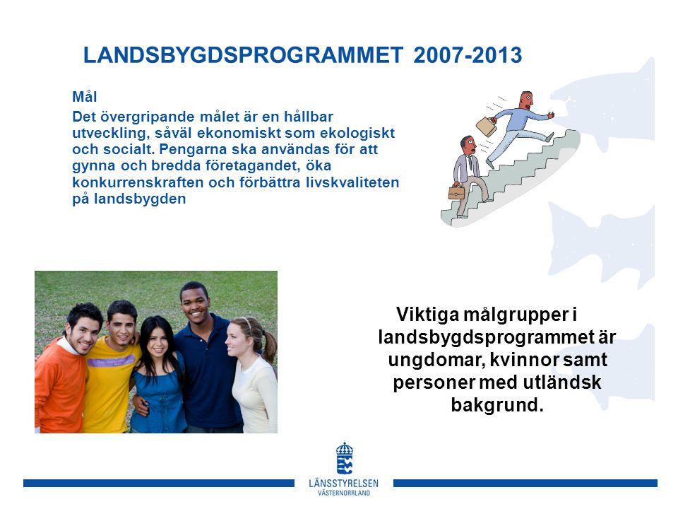 LANDSBYGDSPROGRAMMET 2007-2013 Mål Det övergripande målet är en hållbar utveckling, såväl ekonomiskt som ekologiskt och socialt.