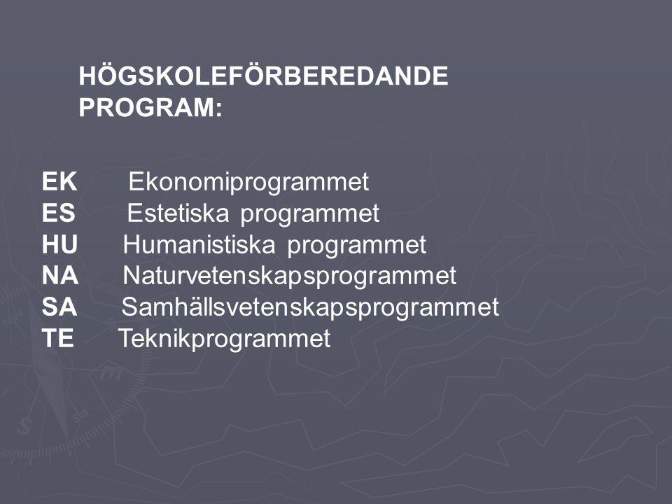 EK Ekonomiprogrammet ES Estetiska programmet HU Humanistiska programmet NA Naturvetenskapsprogrammet SA Samhällsvetenskapsprogrammet TE Teknikprogrammet HÖGSKOLEFÖRBEREDANDE PROGRAM: