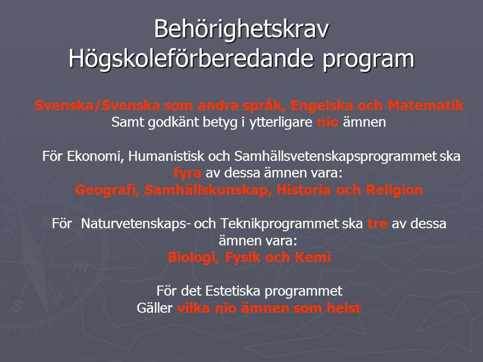 Behörighetskrav Högskoleförberedande program Svenska/Svenska som andra språk, Engelska och Matematik Samt godkänt betyg i ytterligare nio ämnen För Ekonomi, Humanistisk och Samhällsvetenskapsprogrammet ska fyra av dessa ämnen vara: Geografi, Samhällskunskap, Historia och Religion För Naturvetenskaps- och Teknikprogrammet ska tre av dessa ämnen vara: Biologi, Fysik och Kemi För det Estetiska programmet Gäller vilka nio ämnen som helst