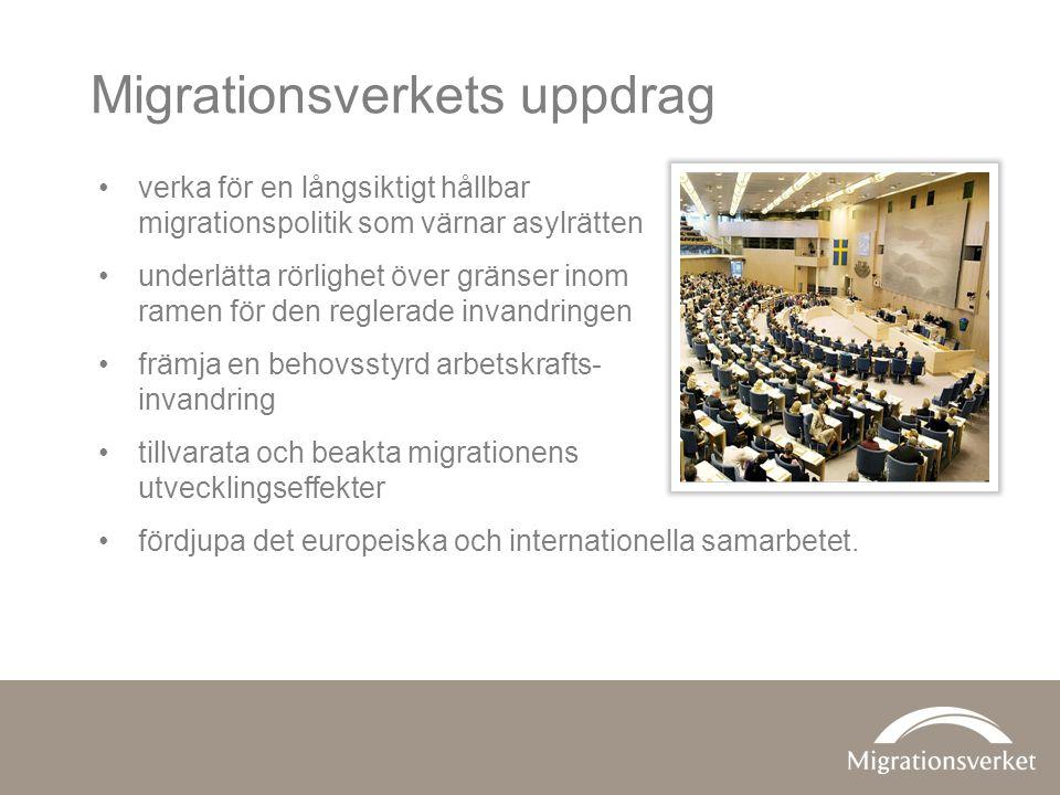 Vi prövar ansökningar från de som •vill flytta till Sverige för att bilda eller leva med sin familj •vill besöka Sverige •vill arbeta eller studera i Sverige •vill bli svenska medborgare •söker asyl – samt ansvarar för mottagandet av asylsökande.