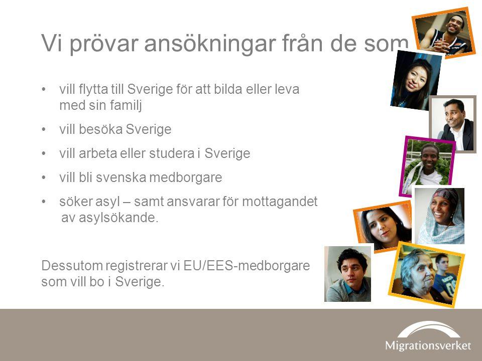 Vi prövar ansökningar från de som •vill flytta till Sverige för att bilda eller leva med sin familj •vill besöka Sverige •vill arbeta eller studera i