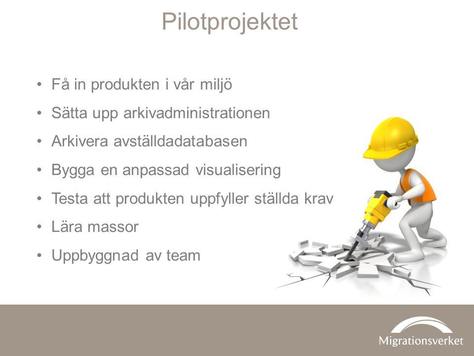 •Få in produkten i vår miljö •Sätta upp arkivadministrationen •Arkivera avställdadatabasen •Bygga en anpassad visualisering •Testa att produkten uppfy
