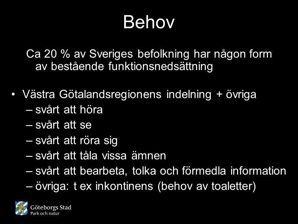 Behov Ca 20 % av Sveriges befolkning har någon form av bestående funktionsnedsättning •Västra Götalandsregionens indelning + övriga –svårt att höra –s