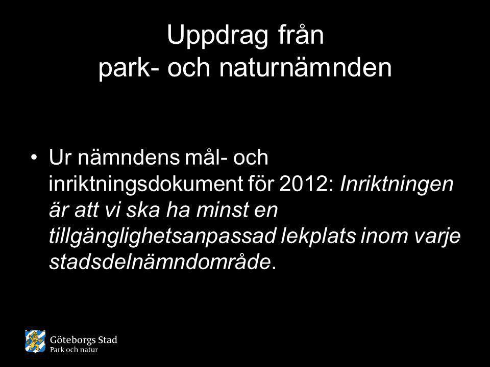 Uppdrag från park- och naturnämnden •Ur nämndens mål- och inriktningsdokument för 2012: Inriktningen är att vi ska ha minst en tillgänglighetsanpassad