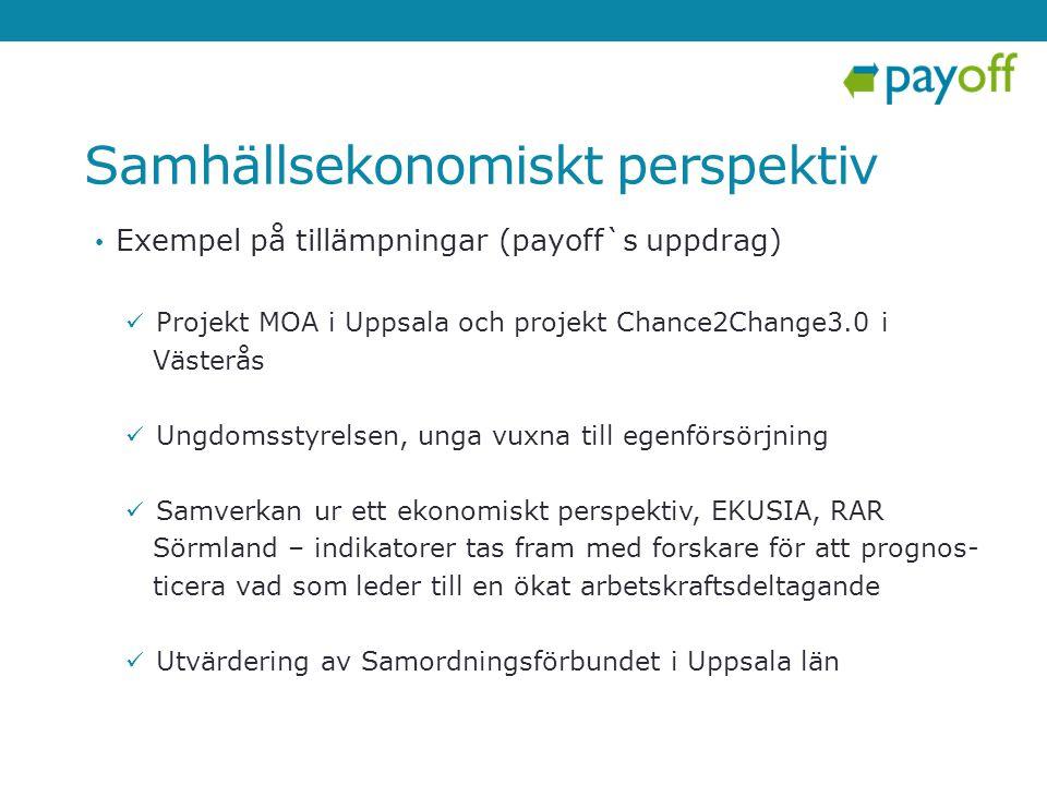 Samhällsekonomiskt perspektiv • Exempel på tillämpningar (payoff`s uppdrag)  Projekt MOA i Uppsala och projekt Chance2Change3.0 i Västerås  Ungdomss