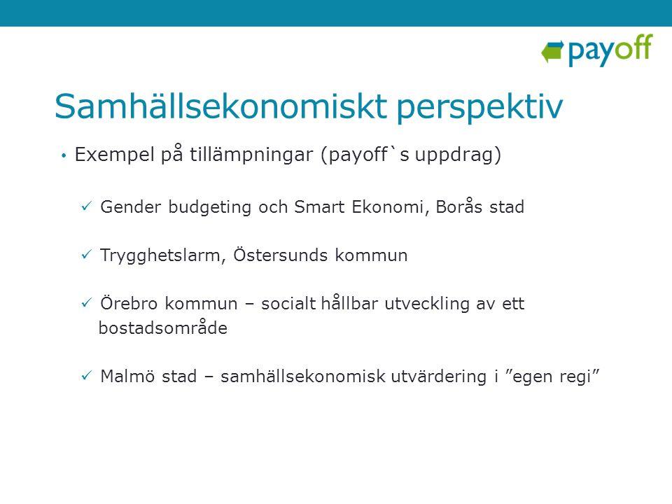 Samhällsekonomiskt perspektiv • Exempel på tillämpningar (payoff`s uppdrag)  Gender budgeting och Smart Ekonomi, Borås stad  Trygghetslarm, Östersun