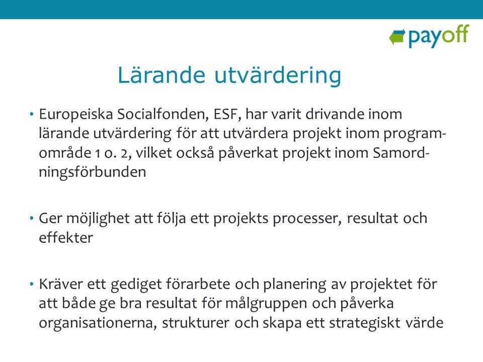 • Europeiska Socialfonden, ESF, har varit drivande inom lärande utvärdering för att utvärdera projekt inom program- område 1 o. 2, vilket också påverk