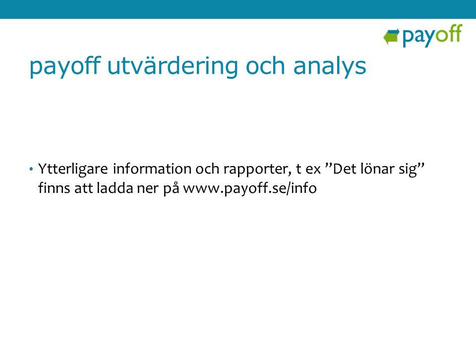 """payoff utvärdering och analys • Ytterligare information och rapporter, t ex """"Det lönar sig"""" finns att ladda ner på www.payoff.se/info"""