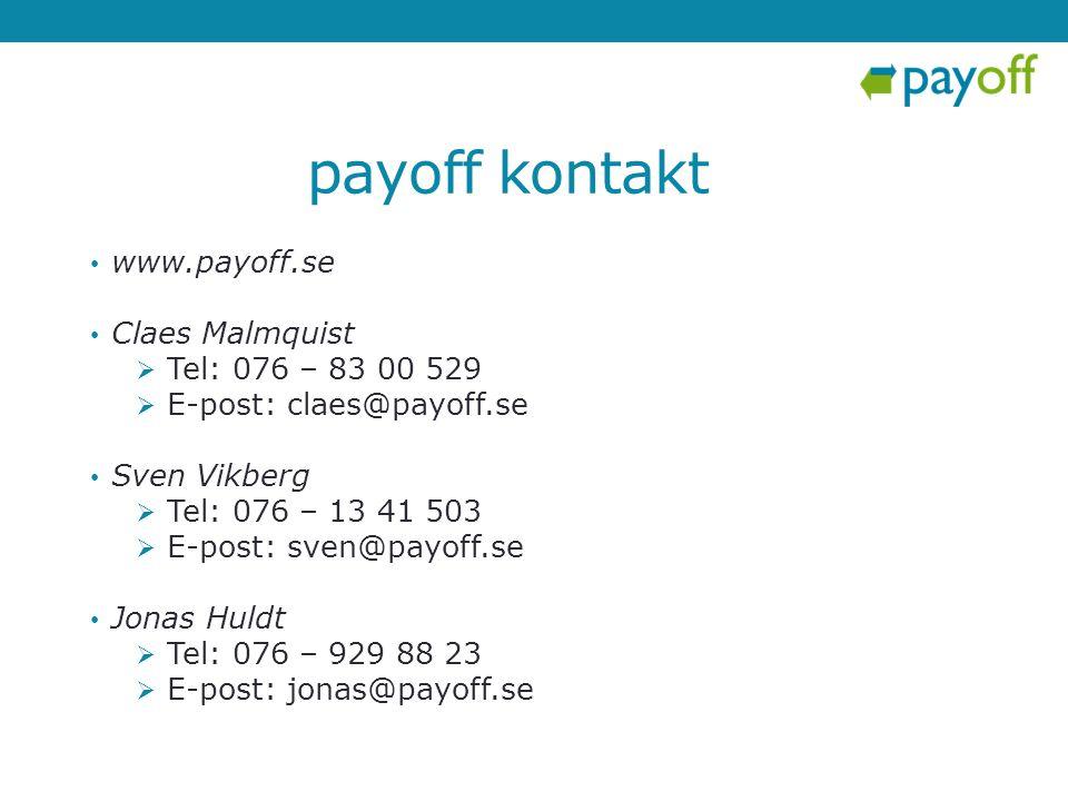 • www.payoff.se • Claes Malmquist  Tel: 076 – 83 00 529  E-post: claes@payoff.se • Sven Vikberg  Tel: 076 – 13 41 503  E-post: sven@payoff.se • Jo