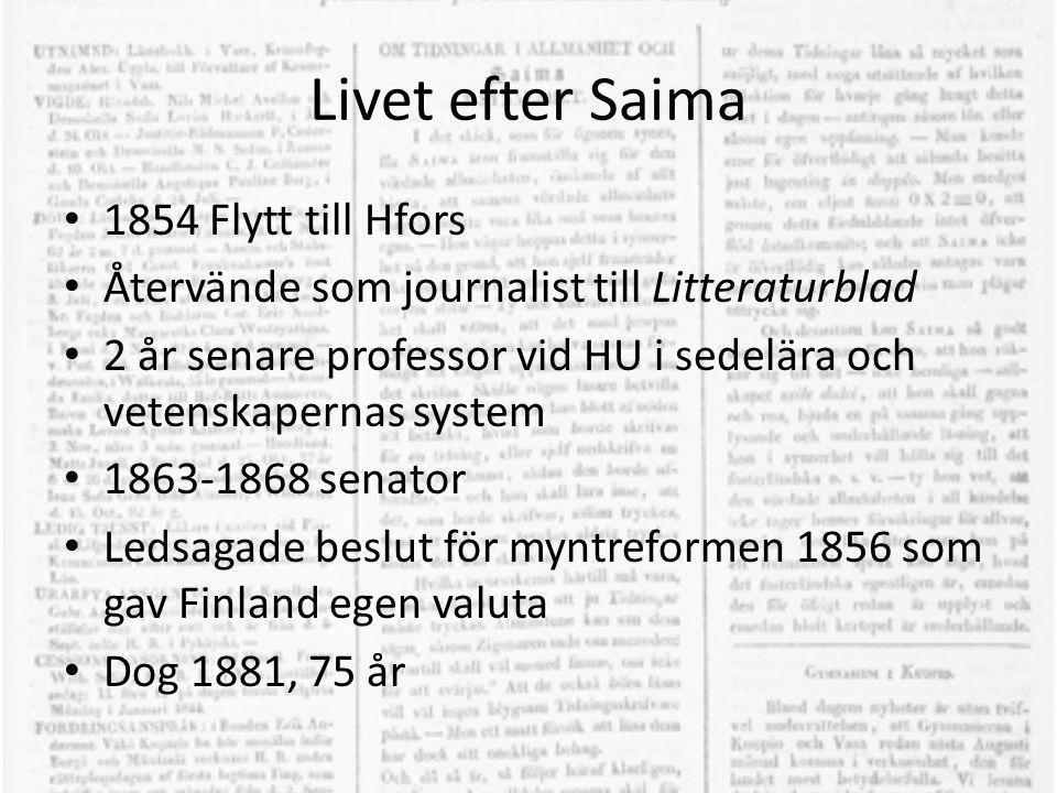 Livet efter Saima • 1854 Flytt till Hfors • Återvände som journalist till Litteraturblad • 2 år senare professor vid HU i sedelära och vetenskapernas