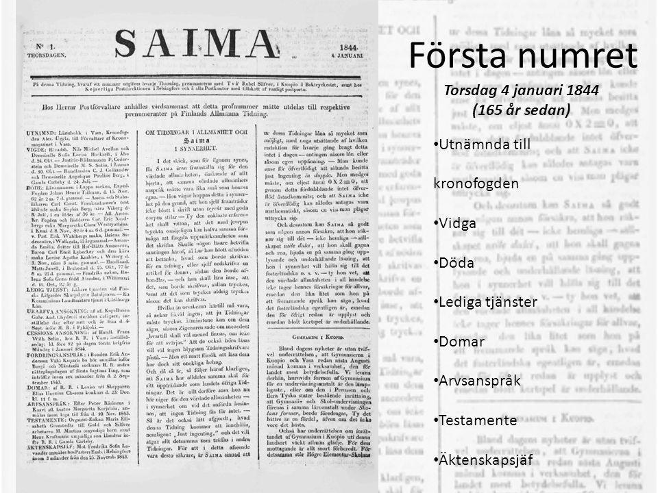 Text från första numret • …Saima har alldeles samma skäl för sitt uppträdande som landets öfvriga Tidningar • Så är det också lätt afgjordt, hvad denna Tidning kommer att innehålla, nemligen: Just ingenting , och det vill säga: allt detsamma som träffas i andra Tidningar. • …Saima är sinnad att ur dessa Tidningar låna så mycket som möjligt, med noga utsättande af hvilken redaktion för hvarje gång bragt detta intet i dagen – antingen såsom lån eller såsom egen uppfattning. • Man kunde anse för öfverflödigt att sålunda besitta just Ingenting in dupplo.