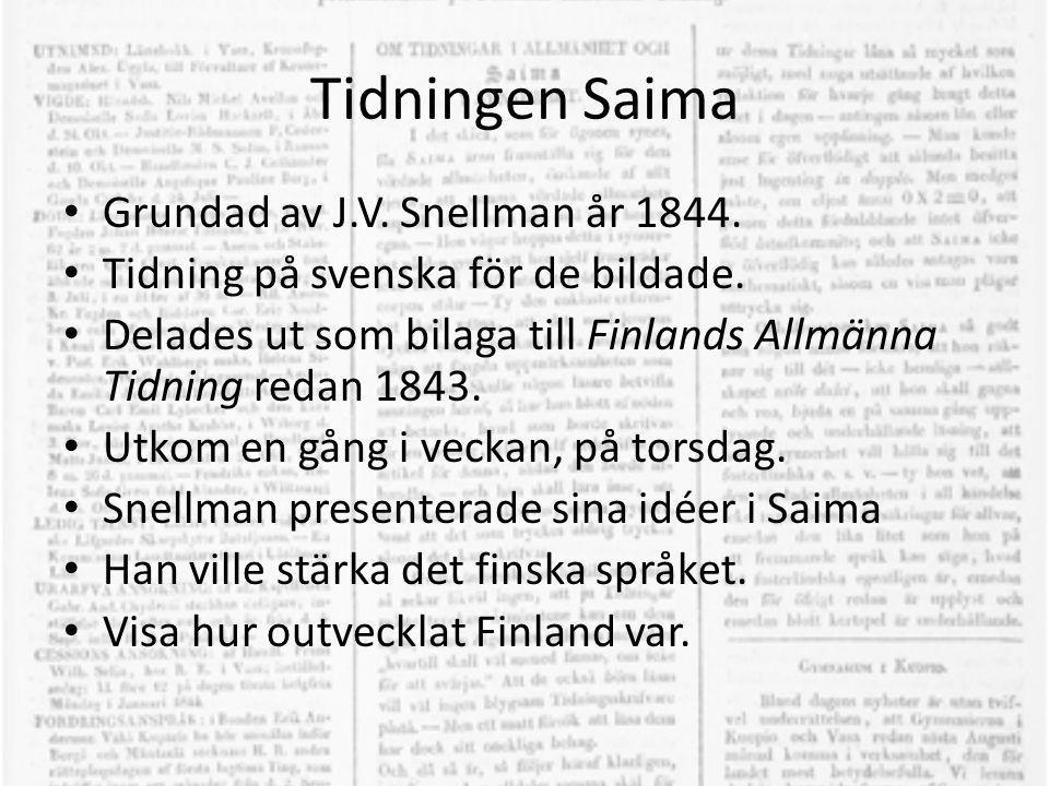 Tidningen Saima • Grundad av J.V. Snellman år 1844. • Tidning på svenska för de bildade. • Delades ut som bilaga till Finlands Allmänna Tidning redan