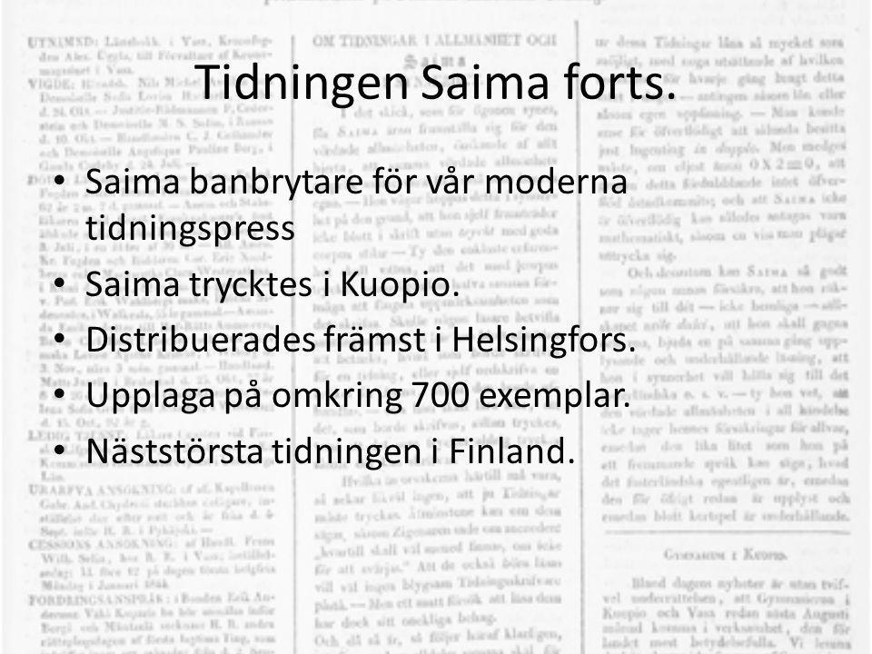 Tidningen Saima forts. • Saima banbrytare för vår moderna tidningspress • Saima trycktes i Kuopio. • Distribuerades främst i Helsingfors. • Upplaga på