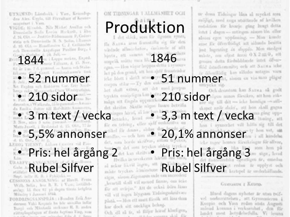 Produktion 1844 • 52 nummer • 210 sidor • 3 m text / vecka • 5,5% annonser • Pris: hel årgång 2 Rubel Silfver 1846 • 51 nummer • 210 sidor • 3,3 m tex