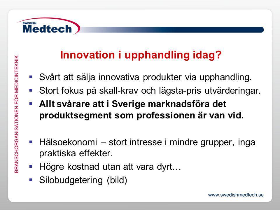 Innovation i upphandling idag. Svårt att sälja innovativa produkter via upphandling.