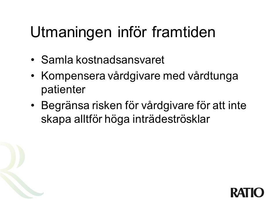 En tänkbar modell •En individbaserad försäkring •Det offentliga står för extrema kostnader och kompenserar vårdgivare för vårdtunga patienter •Sverige har unika förutsättningar att bli pionjärer, tack vare väl utbyggd och enhetlig IT-infrastruktur •Reformen kan genomföras helt utan negativa fördelningseffekter eller någon komplicerad skatteväxling