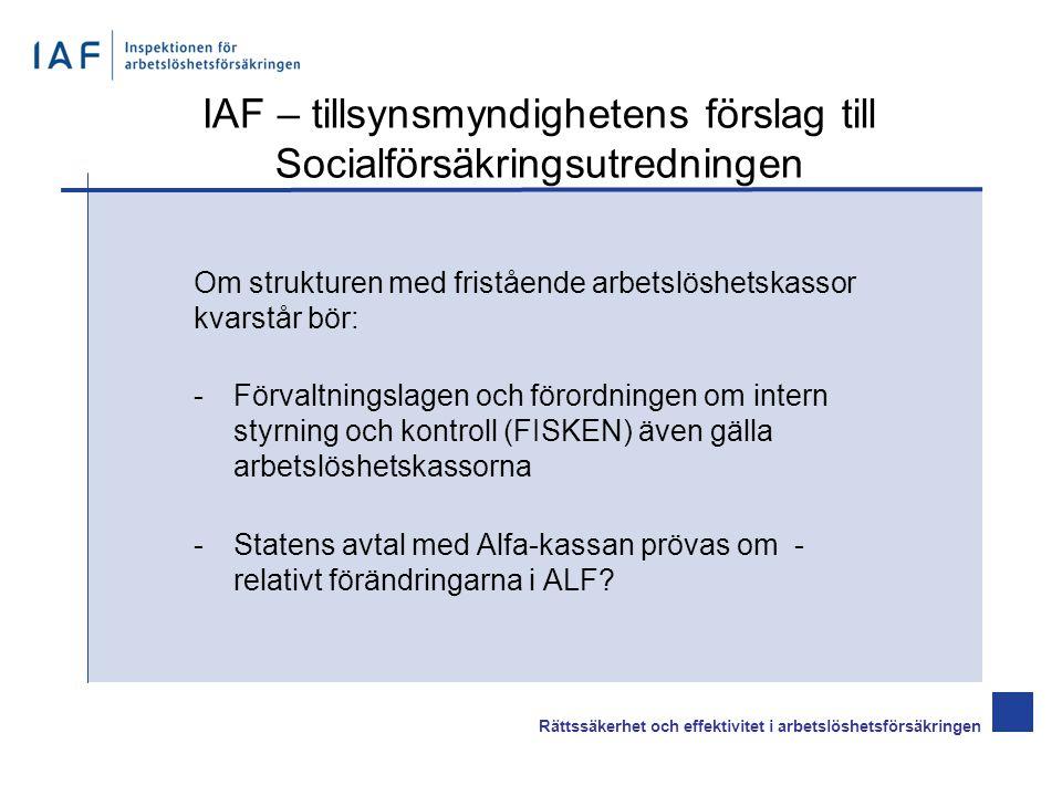Om strukturen med fristående arbetslöshetskassor kvarstår bör: -Förvaltningslagen och förordningen om intern styrning och kontroll (FISKEN) även gälla arbetslöshetskassorna -Statens avtal med Alfa-kassan prövas om - relativt förändringarna i ALF.