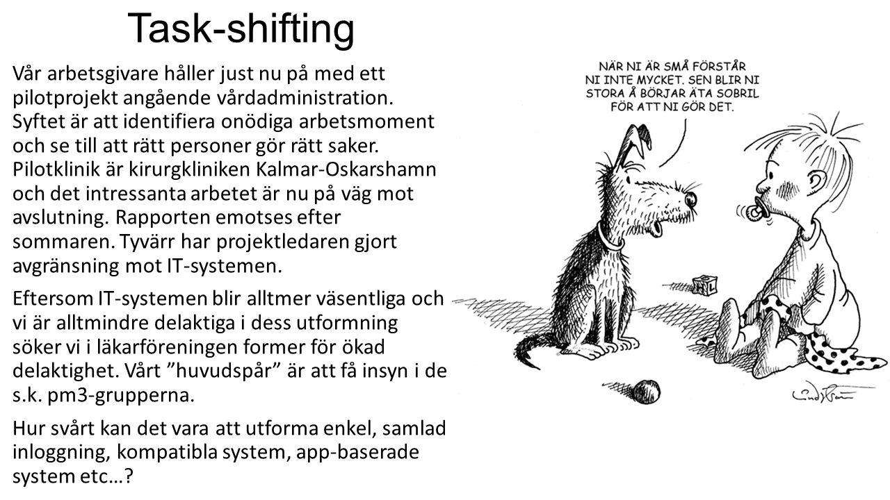 Task-shifting Vår arbetsgivare håller just nu på med ett pilotprojekt angående vårdadministration. Syftet är att identifiera onödiga arbetsmoment och