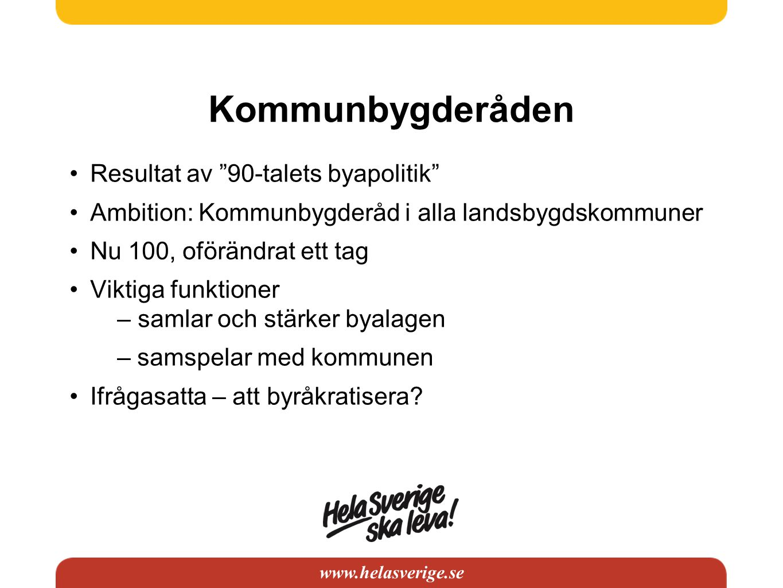 """www.helasverige.se Kommunbygderåden •Resultat av """"90-talets byapolitik"""" •Ambition: Kommunbygderåd i alla landsbygdskommuner •Nu 100, oförändrat ett ta"""