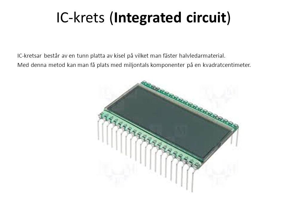 IC-krets (Integrated circuit) IC-kretsar består av en tunn platta av kisel på vilket man fäster halvledarmaterial. Med denna metod kan man få plats me