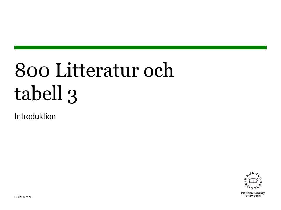 Sidnummer 800 Litteratur och tabell 3 Introduktion