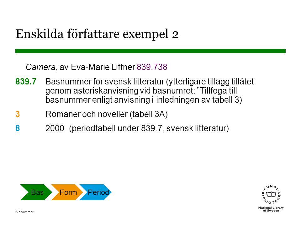 Sidnummer Enskilda författare exempel 2 Camera, av Eva-Marie Liffner 839.738 839.7Basnummer för svensk litteratur (ytterligare tillägg tillåtet genom