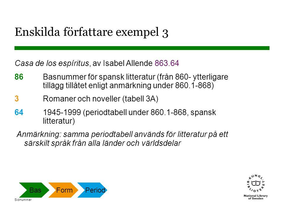 Sidnummer Enskilda författare exempel 3 Casa de los espíritus, av Isabel Allende 863.64 86 Basnummer för spansk litteratur (från 860- ytterligare till