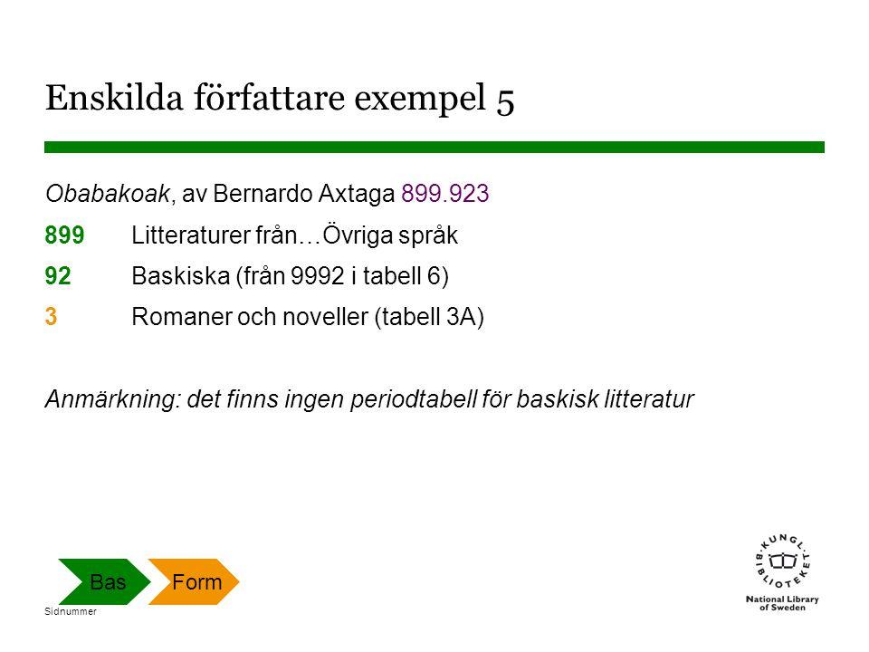 Sidnummer Enskilda författare exempel 5 Obabakoak, av Bernardo Axtaga 899.923 899 Litteraturer från…Övriga språk 92 Baskiska (från 9992 i tabell 6) 3