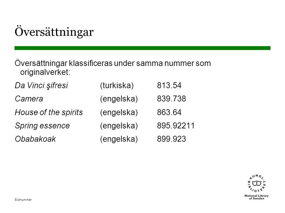 Sidnummer Översättningar Översättningar klassificeras under samma nummer som originalverket: Da Vinci şifresi(turkiska)813.54 Camera(engelska)839.738