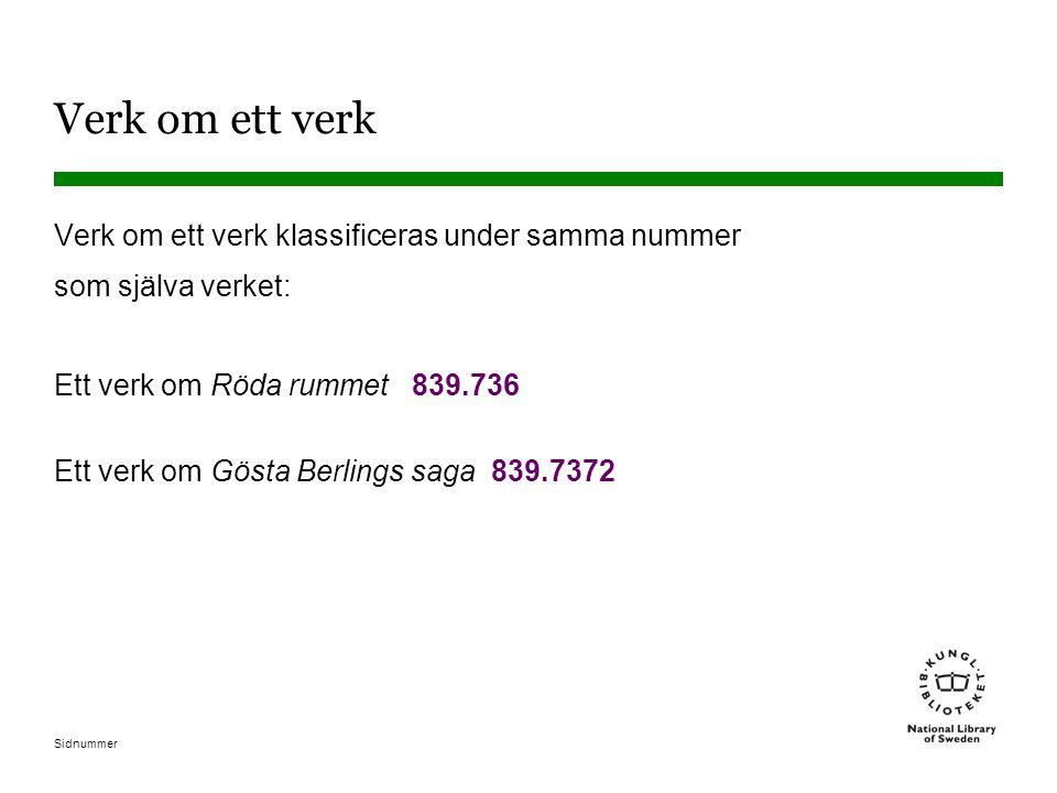 Sidnummer Verk om ett verk Verk om ett verk klassificeras under samma nummer som själva verket: Ett verk om Röda rummet 839.736 Ett verk om Gösta Berl