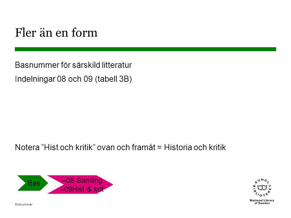 """Sidnummer Fler än en form Basnummer för särskild litteratur Indelningar 08 och 09 (tabell 3B) Notera """"Hist och kritik"""" ovan och framåt = Historia och"""