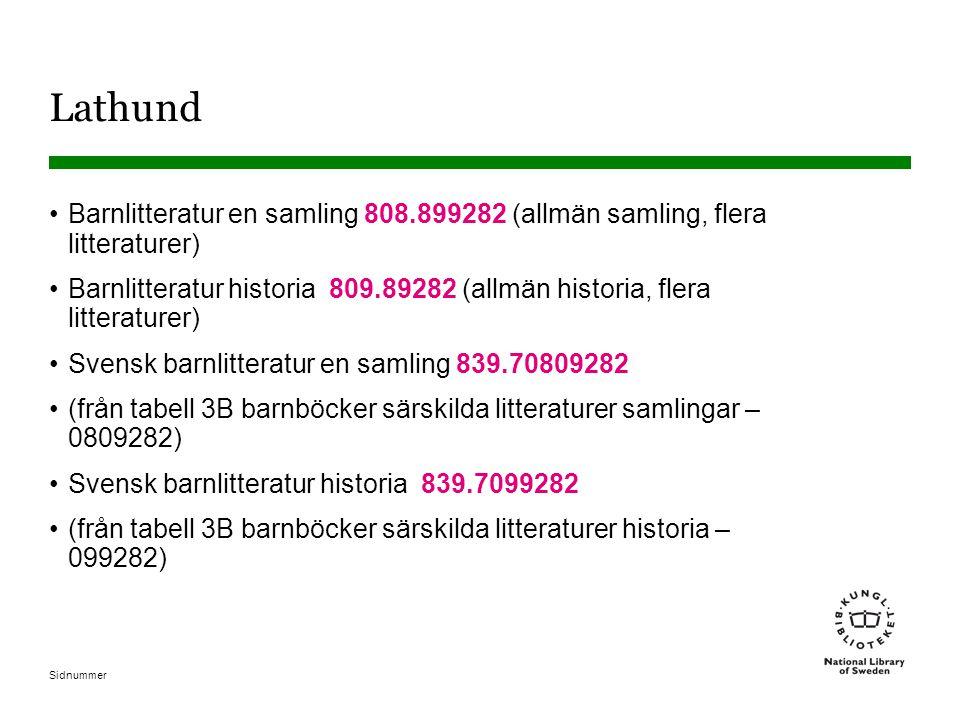 Sidnummer Lathund •Barnlitteratur en samling 808.899282 (allmän samling, flera litteraturer) •Barnlitteratur historia 809.89282 (allmän historia, fler