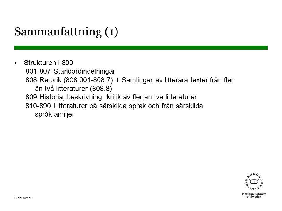 Sidnummer Sammanfattning (1) •Strukturen i 800 801-807 Standardindelningar 808 Retorik (808.001-808.7) + Samlingar av litterära texter från fler än tv