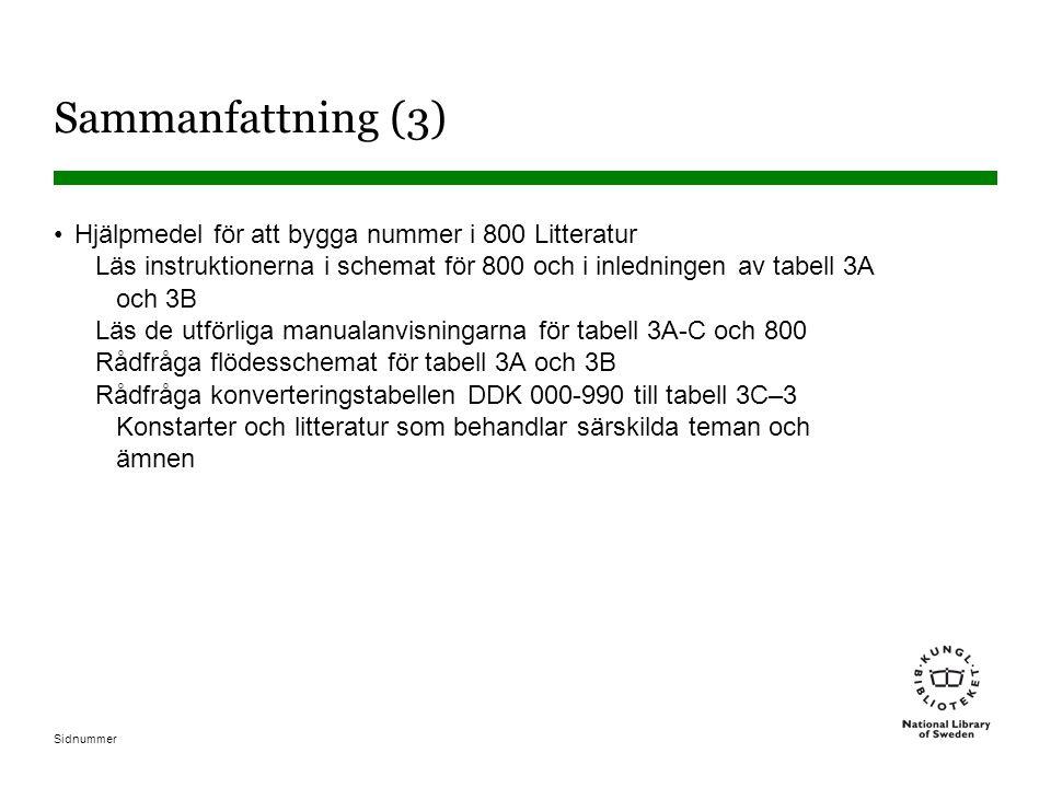 Sidnummer Sammanfattning (3) •Hjälpmedel för att bygga nummer i 800 Litteratur Läs instruktionerna i schemat för 800 och i inledningen av tabell 3A oc