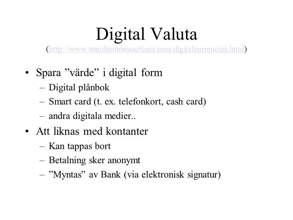 "Digital Valuta (http://www.standardtransactions.com/digitalcurrencies.html)http://www.standardtransactions.com/digitalcurrencies.html •Spara ""värde"" i"