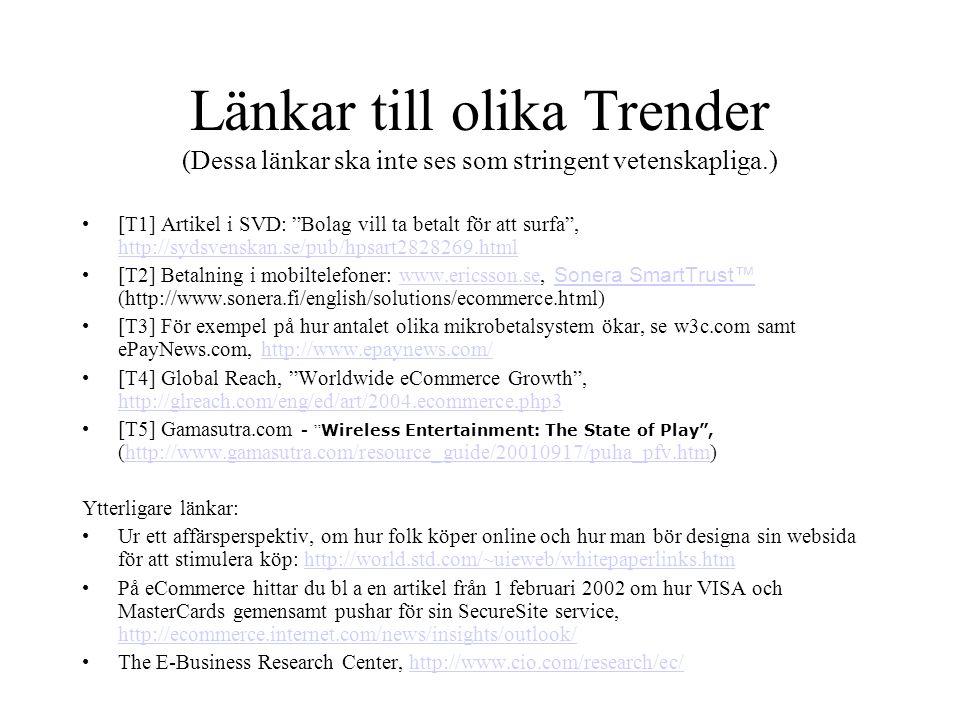 Länkar till olika Trender (Dessa länkar ska inte ses som stringent vetenskapliga.) •[T1] Artikel i SVD: Bolag vill ta betalt för att surfa , http://sydsvenskan.se/pub/hpsart2828269.html http://sydsvenskan.se/pub/hpsart2828269.html •[T2] Betalning i mobiltelefoner: www.ericsson.se, Sonera SmartTrust™ (http://www.sonera.fi/english/solutions/ecommerce.html)www.ericsson.se Sonera SmartTrust™ •[T3] För exempel på hur antalet olika mikrobetalsystem ökar, se w3c.com samt ePayNews.com, http://www.epaynews.com/http://www.epaynews.com/ •[T4] Global Reach, Worldwide eCommerce Growth , http://glreach.com/eng/ed/art/2004.ecommerce.php3 http://glreach.com/eng/ed/art/2004.ecommerce.php3 •[T5] Gamasutra.com - Wireless Entertainment: The State of Play , (http://www.gamasutra.com/resource_guide/20010917/puha_pfv.htm)http://www.gamasutra.com/resource_guide/20010917/puha_pfv.htm Ytterligare länkar: •Ur ett affärsperspektiv, om hur folk köper online och hur man bör designa sin websida för att stimulera köp: http://world.std.com/~uieweb/whitepaperlinks.htmhttp://world.std.com/~uieweb/whitepaperlinks.htm •På eCommerce hittar du bl a en artikel från 1 februari 2002 om hur VISA och MasterCards gemensamt pushar för sin SecureSite service, http://ecommerce.internet.com/news/insights/outlook/ http://ecommerce.internet.com/news/insights/outlook/ •The E-Business Research Center, http://www.cio.com/research/ec/http://www.cio.com/research/ec/