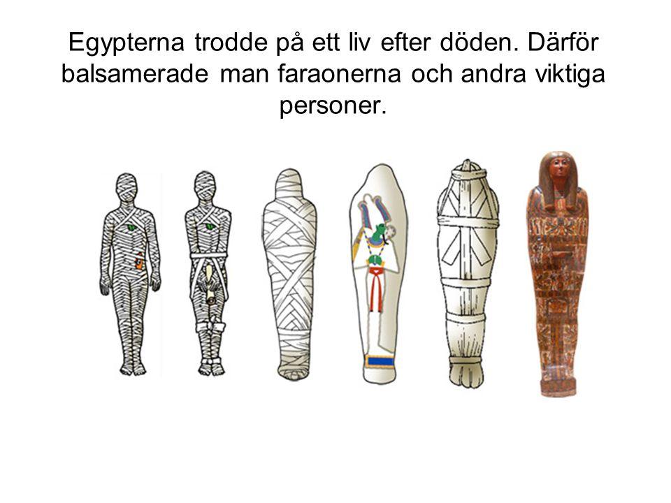 Egypterna trodde på ett liv efter döden. Därför balsamerade man faraonerna och andra viktiga personer.
